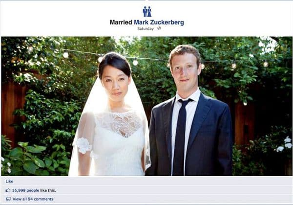 Mark Elliot Zuckerberg与Priscilla Chan喜成连理