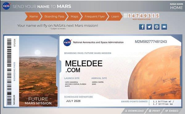 """把你的名字送上火星""(Send Your Name To Mars)火星船票"